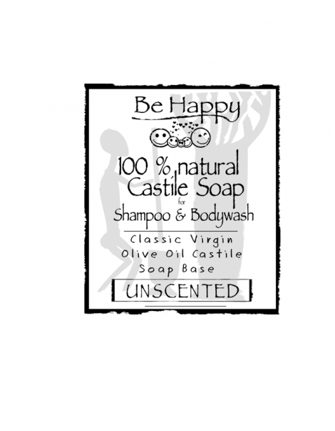 Be Happy Castile Soap UNSCENTED  Just Olive  CLASSIC CASTILE SOAP