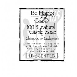 Be Happy Castile Soap UNSCENTED  with Macadamia Nut Oil and Apricot kernel