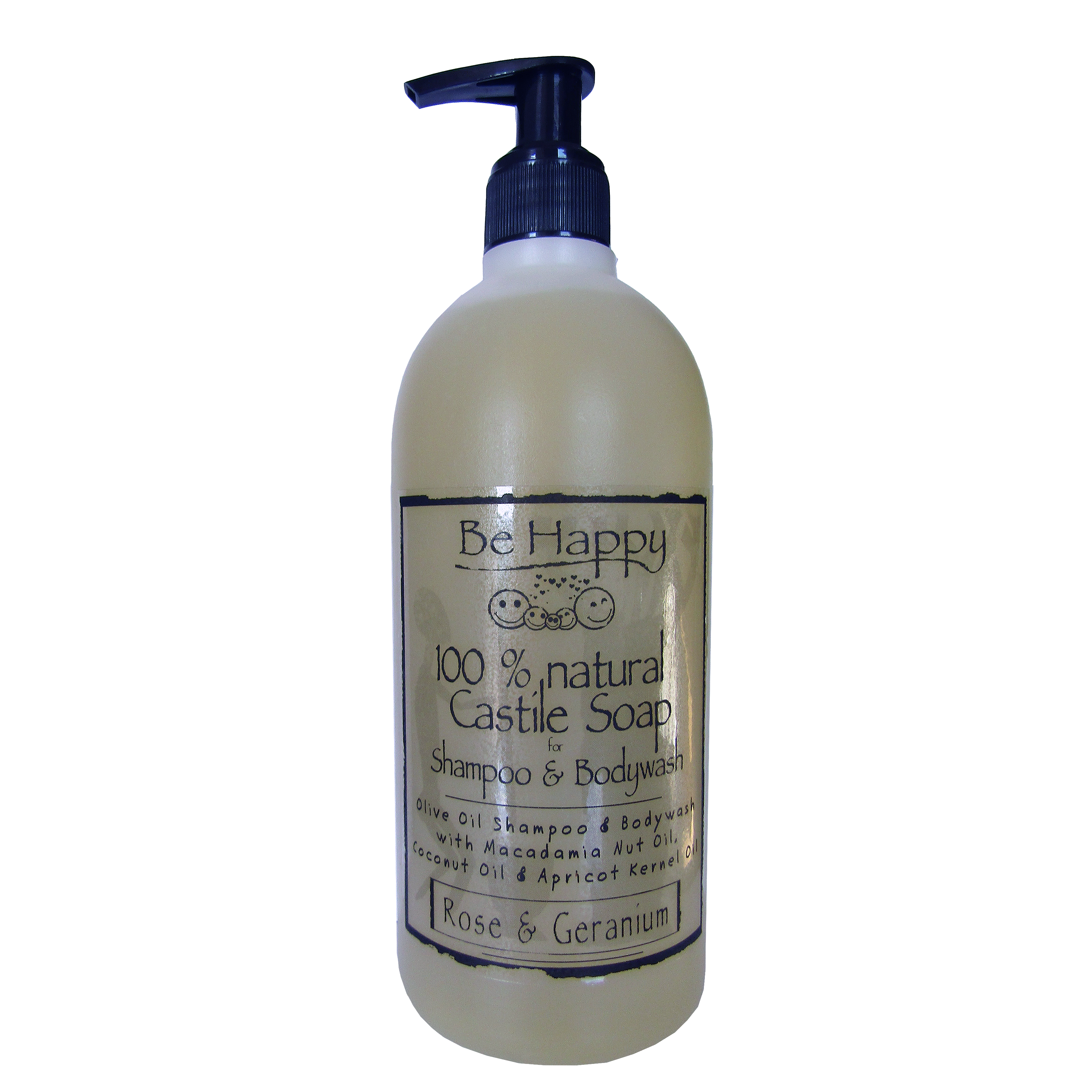 Liquid Castile SHAMPOO & BODYWASH  Geranium & Rose  __ 500ml _