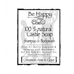Be Happy Castile Soap SH & BW Cinnamon Anis seed & Clove bud