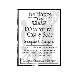 Be Happy Castile Soap SH & BW Eucalyptus Cedarwood & Bergamot