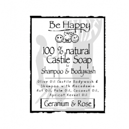 Be Happy Castile Soap SH & BW Geranium & Rose