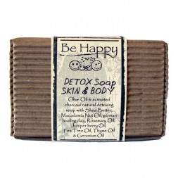 BE HAPPY DETOX Skin and Body Soap with activated charcoal and healing earth HH
