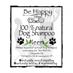 BE HAPPY Neem Dog Shampoo LABEL FRONT HH